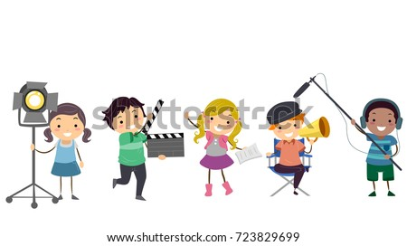 Illustration of Stickman Kids in Different Theater Roles from Director to Actor, Gaffer to Boom Operator