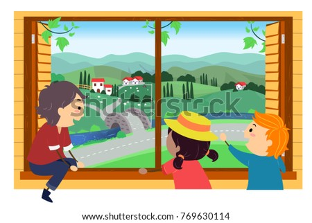 Illustration of Stickman Kids Looking Outdoors with a Rural View