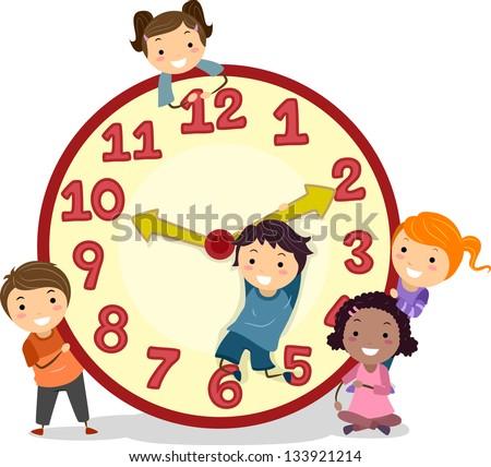 Illustration of Stickman Kids on a Big Clock Stock photo ©