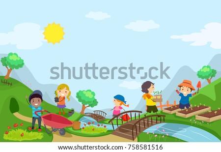 Illustration of Stickman Kids Outdoors Gardening