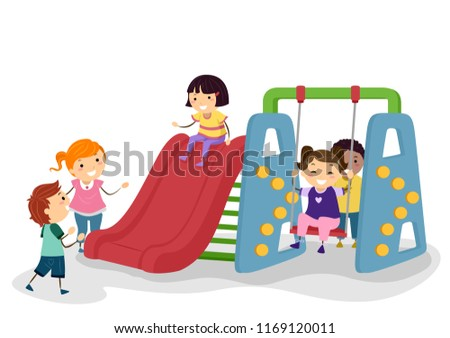 Illustration of Stickman Kids Playing at an Indoor Playground with Slide and Swing