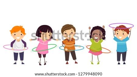 Illustration of Stickman Kids Playing Hula Hoop