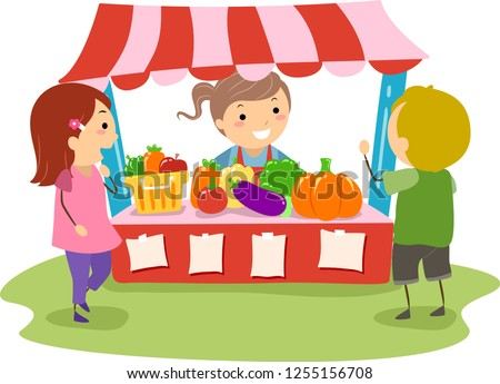 Illustration of Stickman Kids Playing in a Make Believe Farmers Market
