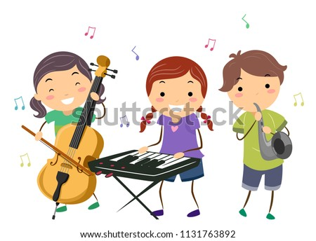 Illustration of Stickman Kids Playing Music Instruments Like Cello, Keyboard and Saxophone