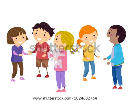Illustration of Stickman Kids Practicing Social Skills in Class