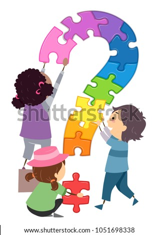 Illustration of Stickman Kids Putting Together Puzzle Pieces to Form a Question Mark