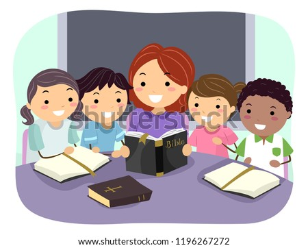 Illustration of Stickman Kids Reading and Studying the Bible with their Teacher