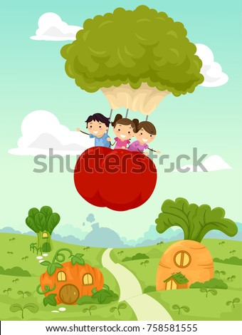 Illustration of Stickman Kids Riding a Broccoli Tomato Hot Air Balloon over a Vegetable Village
