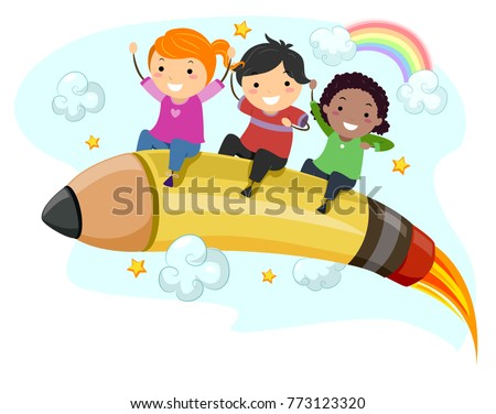 Illustration of Stickman Kids Riding a Pencil Rocket in the Skies