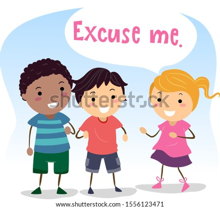 Illustration of Stickman Kids Showing Social Skills with One Kid Girl Saying Excuse Me and Another Kid Giving Way Stock photo ©