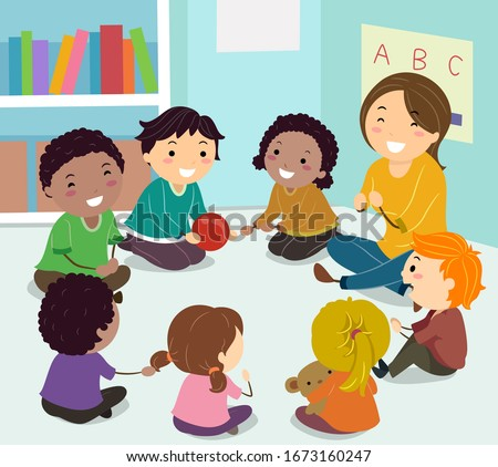 Illustration of Stickman Kids Sitting in a Circle with Girl Teacher Playing an Ice Breaker Game, Passing Ball to Know Each Other on the First Day of Class Foto stock ©