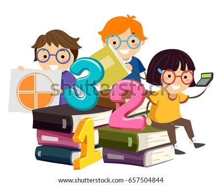 Illustration of Stickman Kids Sitting on Math Books Holding Pie Chart and Calculator