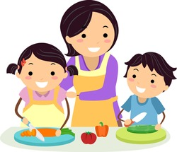 Illustration of Stickman Kids Slicing a Carrot and a Cucumber with Mother Assisting Kids