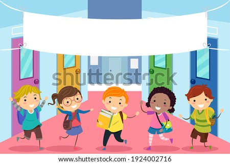 Illustration of Stickman Kids Students in School Hall with Blank Welcome Banner