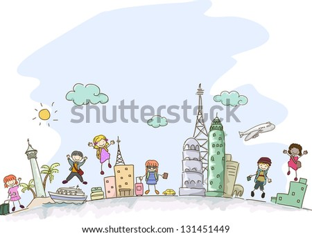 Illustration of Stickman Kids traveling with some scenes from different parts of the world