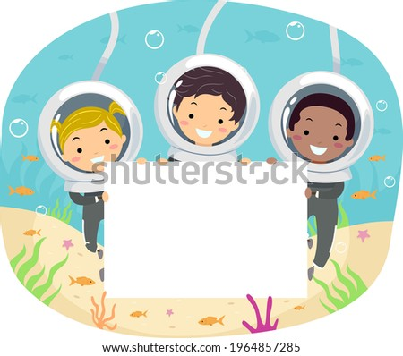 Illustration of Stickman Kids Wearing Diver Helmet Underwater Diving and Holding a Blank Board Photo stock ©