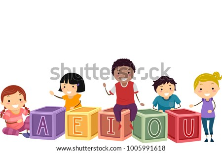 Illustration of Stickman Kids with Blocks with Vowels of the Alphabet