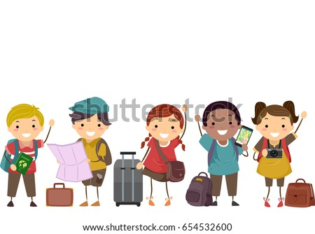 Illustration of Stickman Kids with Map, Bag, Camera and Luggage Ready to Travel