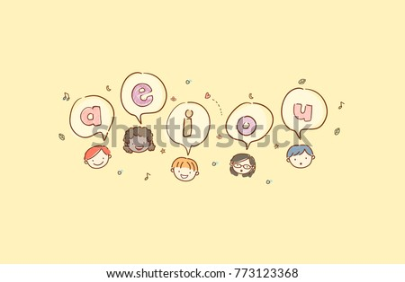 Illustration of Stickman Kids with Speech Bubbles with Vowels Inside