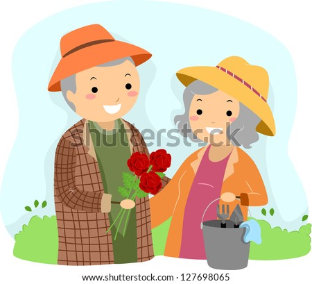 Illustration of Stickman Senior Couple Gardening
