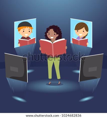 Illustration of Stickman Teacher Teaching Kids Virtually. Online Teaching Concept