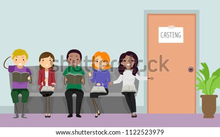 Illustration of Stickman Teens Sitting Outside an Office for a Casting Call