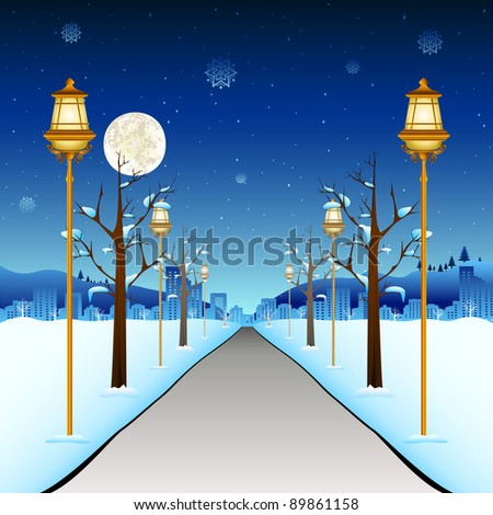illustration of street with lamp post in winter season