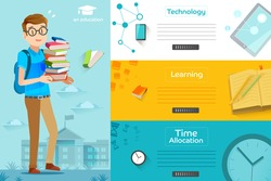 Illustration of success learning in a school. Concepts education for web banners. Students are preparing final exam.