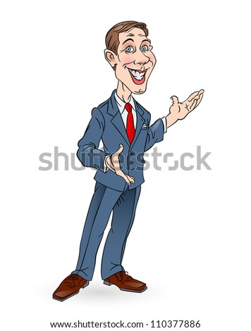 Illustration of successful business man presenting over white background. In Color.