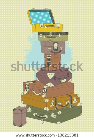 Illustration of suitcases' pile before travel