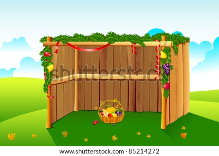 illustration of sukkah decorated with leaves and fruit for sukkot