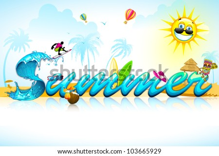 illustration of summer background with sea beach element