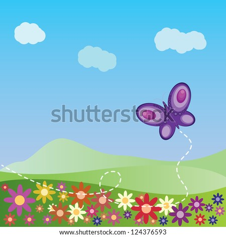 Illustration of summer landscape with flowers and butterfly background.