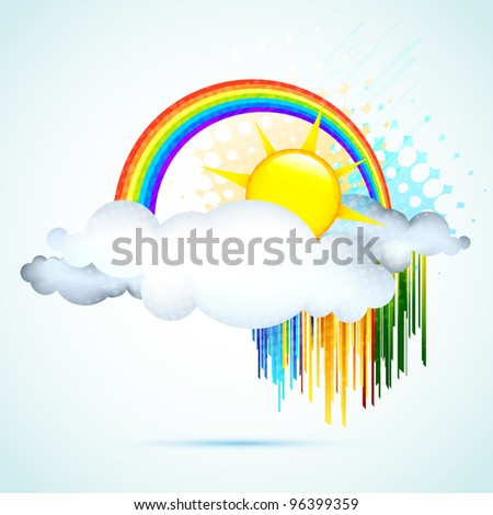 illustration of sun in clouds with rainbow in sky