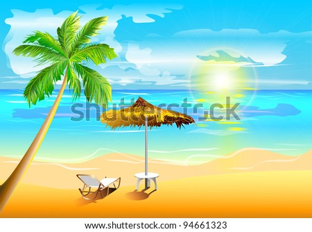Illustration of sunny beach with palm and deck chair