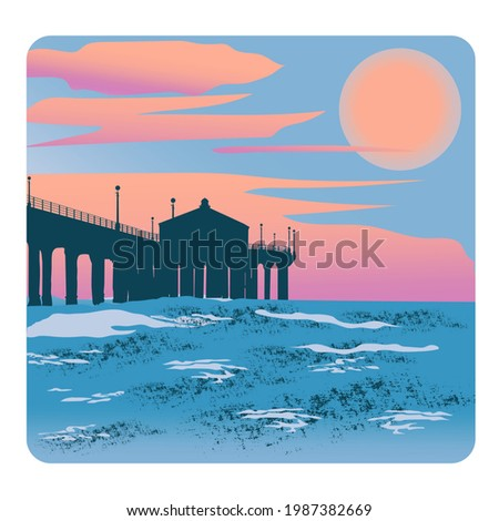 illustration of sunset on the