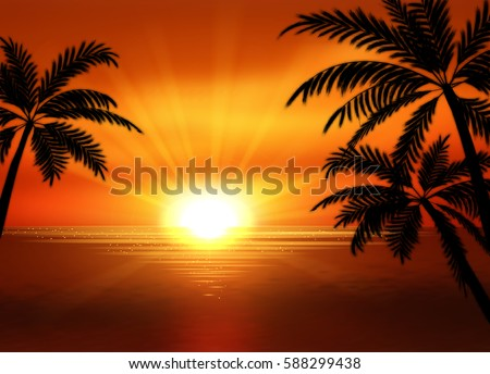 illustration of sunset view in