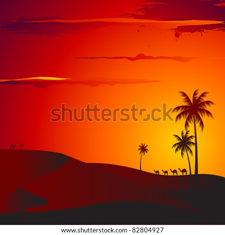 illustration of sunset view of desert with palm tree