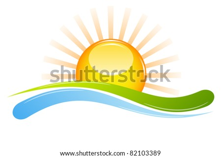 Illustration Of Sunset View With Island And Sea Beach