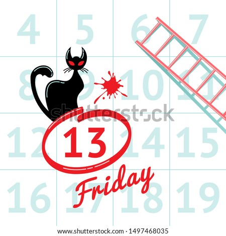 Illustration of superstition on Friday the 13th with black cat in calendar background Photo stock ©