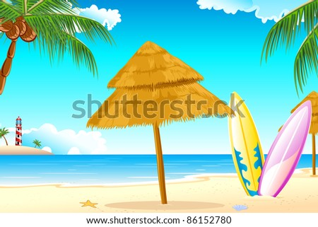 illustration of surfing board on sea beach