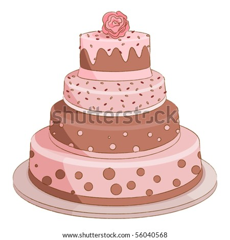 stock vector Illustration of sweet pink wedding cake