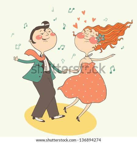 illustration of swing dancing