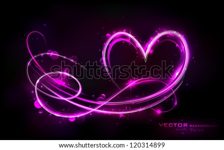 illustration of swirly glowing heart on abstract background