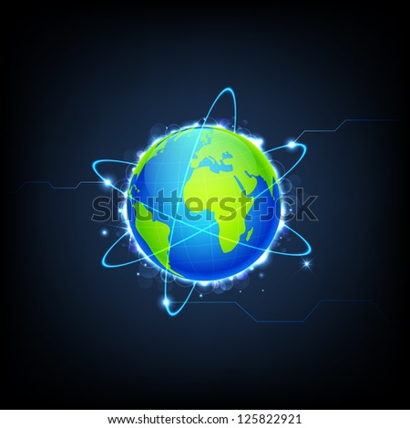 illustration of swirly lights around Earth on technology background