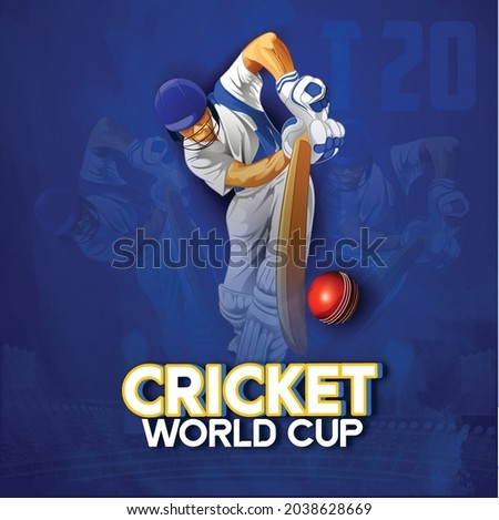 illustration of T20 Cricket, Batsman playing cricket with cricket ball, wicket stumps on blue background, banner, poster