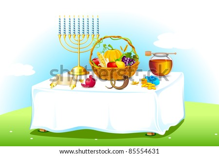 illustration of table decorated with honey and fruit for sukkot