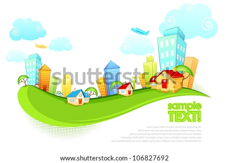 illustration of tall building and house on city scape