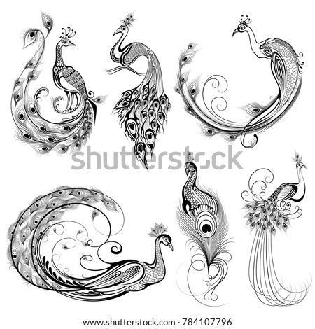 illustration of Tattoo art design of peacock collection