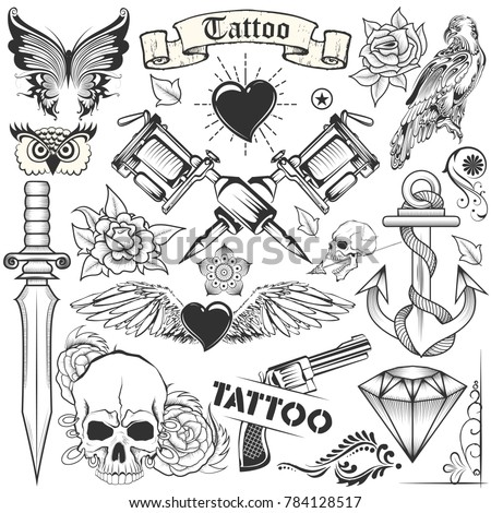 illustration of Tattoo art design of Skull, Horse and Flora collection with tattooing machine